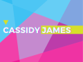 colorful geometric flyer for Cassidy James exhibition