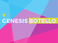 colorful geometric flyer for Genesis Botello's exhibition