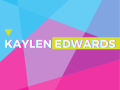 colorful geometric flyer for Kaylen Edwards exhibition page