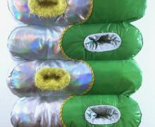 4 plastic slippers in green and clear plastic