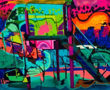 colorful painting titled El Parque by artist Jiovanny Soto