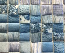 a sculpture by Eileen Parent titled Variations in Blue made of 144 rice paper squares