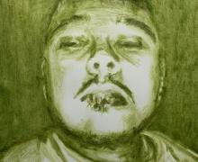a drawing of a man made of marijuana leaves on paper titled En Cuarentena by Jiovanny Soto