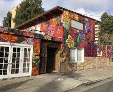 flower shop in downtown Santa Rosa entirely covered in colorful mural