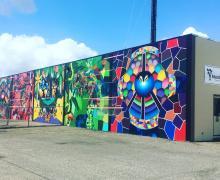 longshot view of colorful mural