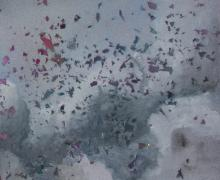 abstract painting of cloud-like image with colored confetti