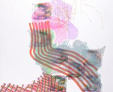 abstract mixed media artwork with colored lines in various patterns