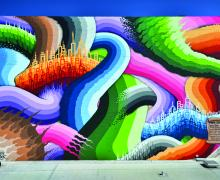 colorful photograph of very large mural on the Phoenix Theater